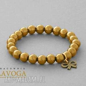 Hematite with pendant in gold. - ,hematyt,zawieszka,kokardka,
