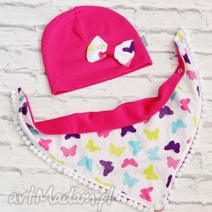 Cienki komplet dla dziewczynki: czapka i chusta; motylki, czapka, chusta, apaszak