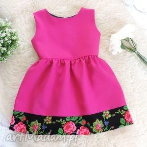 różowa sukienka góralska folkowa dziecięca, sukienka, różowa, folk, dziecięca