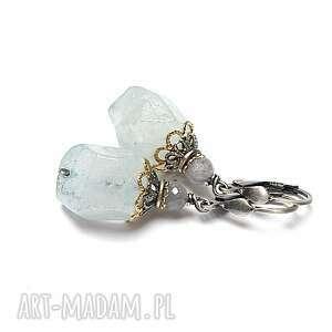 akwamarynowe skały - kolczyki, srebro oksydowane, pozłacane, akwamaryn, kwarc