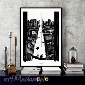 grafika ponad miastem zawieszeni art print, miasto, czarnobiałe, grafika, 30x40cm, a3