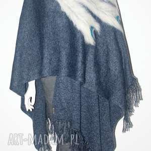 handmade poncho ponczo z frędzlami wełną zdobione