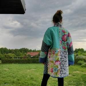 płaszcze płaszcz patchworkowy długi kimono - waciak, płaszcz, patchwork, waciak