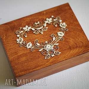 pudełko na obrączki z sercem, drewno, koronka, pudełko, obrączki, rustykalne