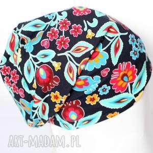 czapka dzianinowa damska folkowa - czapka, dzianina, bawełna, folk, etno, kiwaty