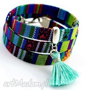 bransoletka boho aztekee, bransoletka, tkanina, boho, zawieszka, chwost, cyna