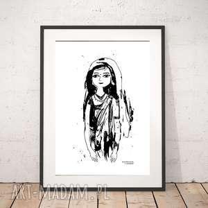 biało-czarny plakat z dziewczyną, hinduską, kobieta plakat, dziewczyna