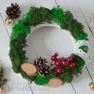 dekoracje wianek świąteczny z mchem chrobotkiem, mech chrobotek