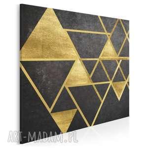 obraz na płótnie - trójkąty geometryczny złoto w kwadracie 80x80