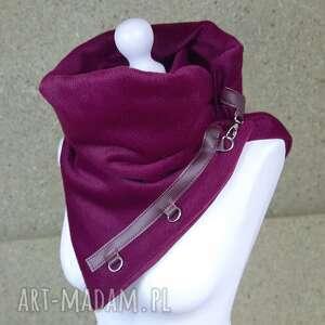 hand-made szaliki ciepły szal wełniany ze skórzanymi zapinkami, elegancki fuksjowy