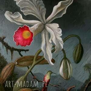 """""""burzowa orchidea patrzy na kolibra"""" obraz płótnie pi art"""