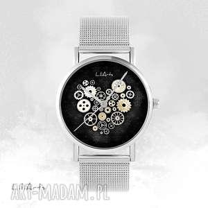 zegarek, bransoletka - steampunk heart, czarny metalowy
