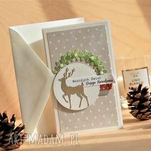 scrapbooking kartki wesołych świąt, święta, świąteczna, kartka, renifer, kartka