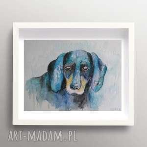 niebieski pies -akwarela formatu a5, pies, kredki, akwarela, abstrakcja