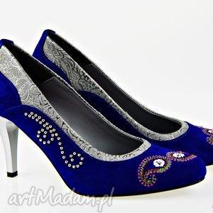 hand made buty szpilki nieba aksamit