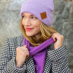 czapki wywijana dwustronna logo z ekoskórki lavendowe love, czapka beanie