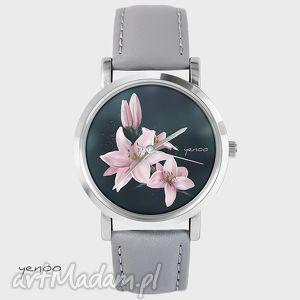 Prezent Zegarek, bransoletka - Lilia szary, skórzany, zegarek, bransoletka, lilia