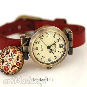 Orientalny dywan zegarek z prawdziwej skóry, zegarek, orient, dywan, skóra, czerweiń