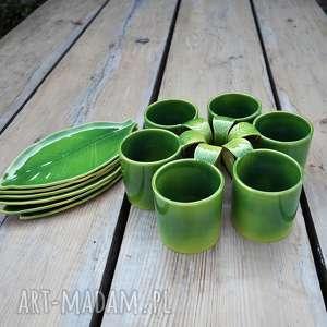 handmade kubki zestaw 6 kubków ceramicznych z podstawką liść