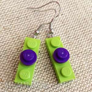witrazka kolczyki lego zielono - fioletowe, z lego, klocków