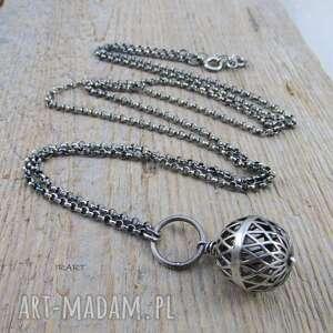 hand-made naszyjniki srebrna kula - naszyjnik