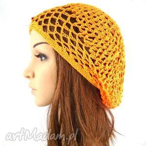 ażurowa czapeczka pomarańczowa - czapka, beret, ażur, plaża, urlop