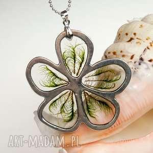 Prezent c546 Naszyjnik kwiat z prawdziwym mchem, naszyjnik-z-mchem, biżuteria-z-mchem