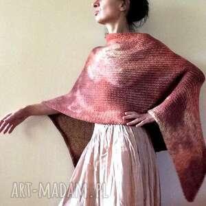 hand-made poncho narzutka z grubej bawełny w ciepłych tonacjach