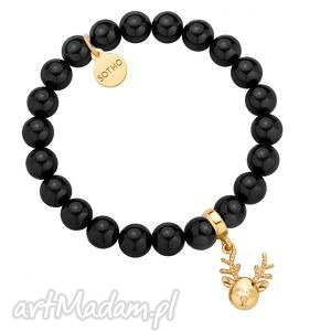 czarna bransoletka z pereł swarovski crystal ze złotym reniferkiem, modna