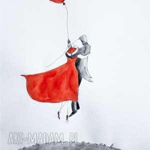 tak lubię z tobą latać akwarela artystki adriany laube, akwarela, balon, latający