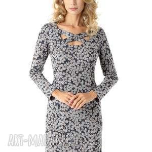 dopasowana sukienka z paskami emily granatowa w listki, elegancka