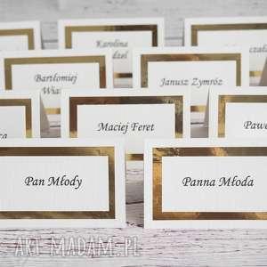 winietki gold mirror, winietki, etykiety, nazwiska, gości, weselne, stoły