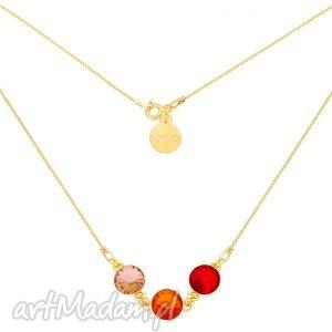 złoty naszyjnik z trzema kryształami swarovski crystal, naszyjnik, złoty, kryształy
