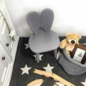 krzesełko królik szare, królik, meble dzieciece, urządzamy pokój