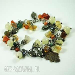 jesienna bransoleta, liść, listek, jesień, agat, brąz, szafir