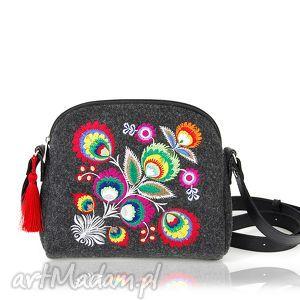 na ramię torebka filcowa mini kwiat 2013, mała, filcowa, kwiat, łowicki, rękodzieło