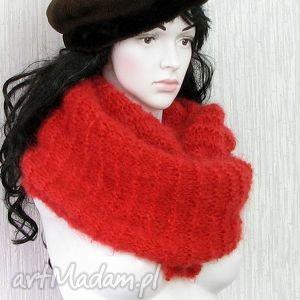 ręcznie robione szaliki oversize - czerwony szeroki szal