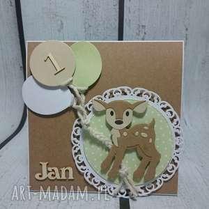 zaproszenie kartka bambi z balonami - sarenka, las, urodziny, narodziny, balony, sesja