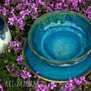 Komplet kamionkowy niebiesko-biały - kubek talerz i miska