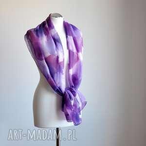 jedwabny malowany szal - odcienie fioletów - jedwab, jedwabny szal, ręcznie