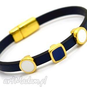 bransoletki bransoletka magnetoos minimal emalio navy blue, skóra, przekładki, magnes