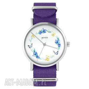 zegarek - wianek, motyle fioletowy, nylonowy, zegarek, nylonowy pasek, typ
