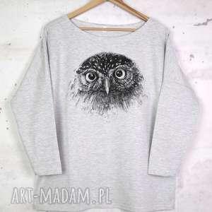 SOWA Bluzka bawełniana szara z nadrukiem S/M, bluzka, koszulka, bawełna, sowa, nadruk