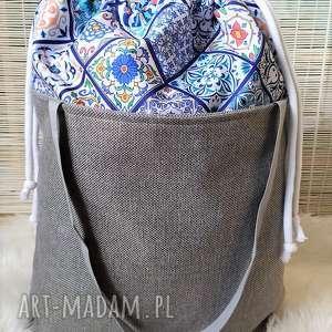 torba z kominem wzór portugalski, torba, torebka, zakupowa, komin, plażowa