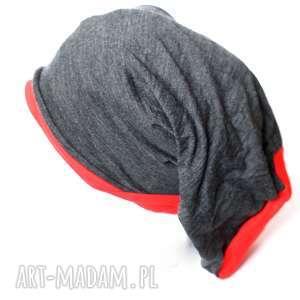 czapki czapka grafitowo-pomarańczowa smerfetka, czapka, długa, dzianina, kolorowa