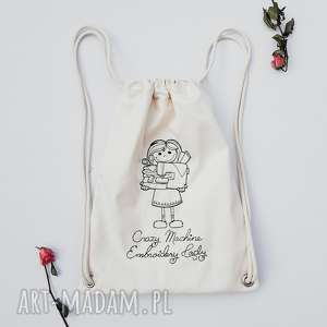 crazy machine embroidery lady - ,plecak,worek,haft,torebka,crazy,lady,