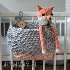 kieszeń kangura - kosz organizer na łóżeczko, sznurek, przechowywanie, rękodzieło