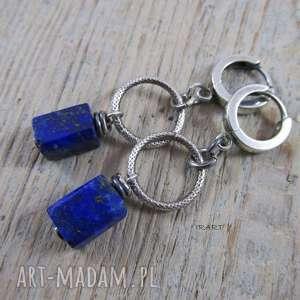 Lapis lazuli na kole, lapis, srebro, kolczyki