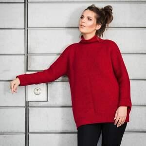 swetry ciepły, ciemnoczerwony sweter, z golfem, wełna, wełna merynosów