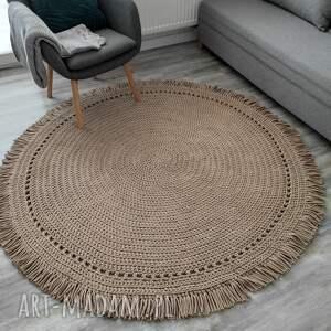 dywan boho ze sznurka bawełnianego 110 cm plus frędzle, dywan, sznurek